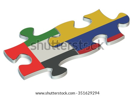 UAE and Colombia puzzles isolated on white background