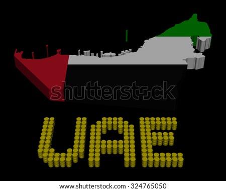 UAE barrel text with map flag illustration - stock photo
