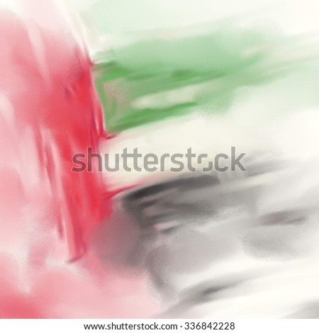 UAE Colors Art, United Arab Emirates Flag Oil Canvas (Digital Oil Painting on Canvas) - stock photo
