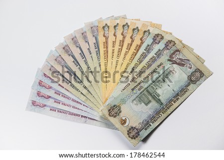 UAE Dirhams assorted currency notes - stock photo