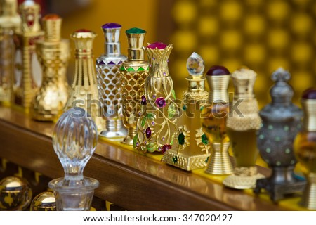 Uae Dubai 2015 Year november 11 . Arabian perfume in gold bottles