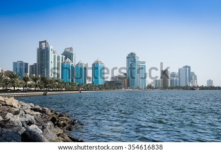 Uae Sharjah 2015 Year november 20  Sharjah city  view from the sea on the modern city