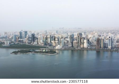 UAE, shore line view from skyscraper - stock photo