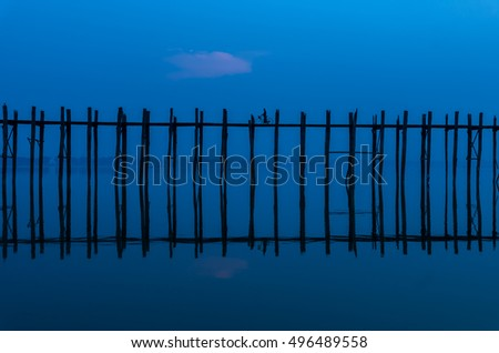 Ubein Bridge at the morning time, Mandalay, Myanmar