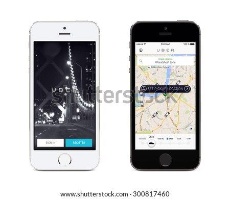 Uber app startup page and Uber search cars map on the front view white and black Apple iPhones. Isolated on white background. Varna, Bulgaria - May 26, 2015. - stock photo