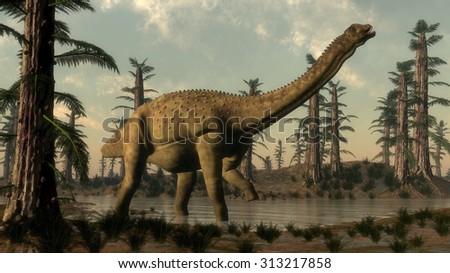 Uberabatitan dinosaur walking in the lake among tempskya trees and onychiopsis plants - 3D render - stock photo