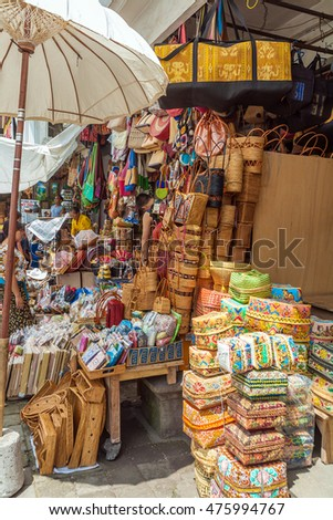 UBUD, INDONESIA - AUGUST 29, 2008: Woven wickerwork and bags souvenirs shop