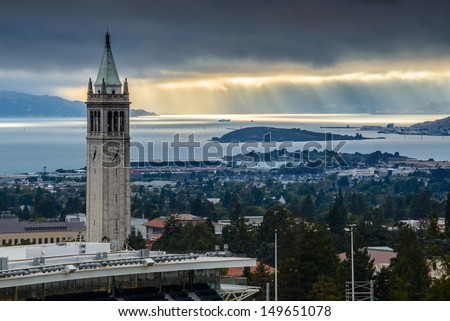 UC Berkeley Sather Tower with Sunrays - stock photo