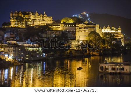 Udaipur city night view, India