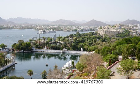 Udaipur is a major city, municipal corporation and the administrative headquarters of the Udaipur district in the Indian state of Rajasthan. It is the historic capital of the kingdom of Mewar.  - stock photo