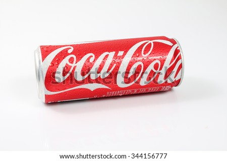 Udon Thani , Thailand - Octoberber 15 ,2015 : Coke can on white background. Coke is popular flavored soft drink created by Coca-Cola company.