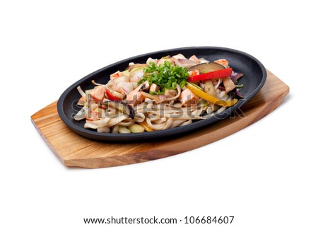Udon with seafood,  japanese cuisine