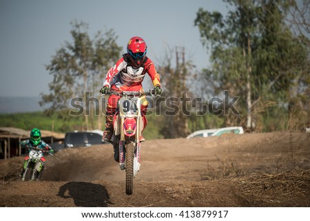 Udontani,Thailand,Febuary 28,2016:Sport Motorcycle group,Motocross group meeting to show and play,Child driver motocross,and jump in Wangsammor,Wangsammor far form Udontani 120km.