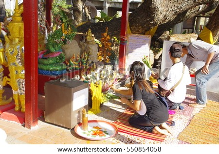 UDornthani Thailand , January 05 - 2016 : Thai people and tourism come to    The Thai temple and make merit buddha for lucky in New Years festival  this is Thai people culture