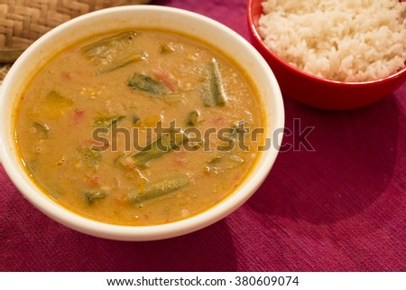 Udupi sambar is a very delicious and tasty dal which is served with idli, dosa and with rice. - stock photo