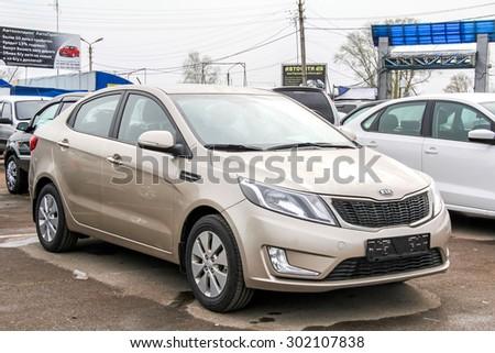 UFA, RUSSIA - APRIL 19, 2012: Motor car Kia Rio at the used cars trade center. - stock photo