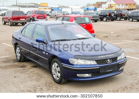 UFA, RUSSIA - APRIL 19, 2012: Motor car Peugeot 406 at the used cars trade center. - stock photo