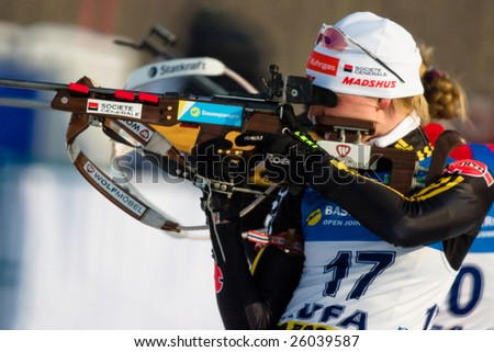 UFA, RUSSIA - FEBRUARY 2 : An unidentified participant in action at Biathlon Open European Championship in Bashkortostan, Ufa, Russia February 2, 2009. - stock photo
