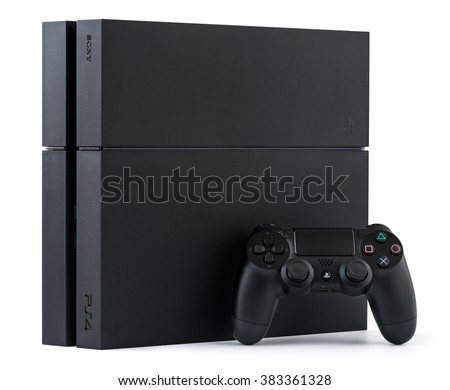 UFA, RUSSIA - 27 FEBRUARY, 2016: Sony PlayStation 4 game console of the eighth generation. Sony PlayStation 4 1Tb revision (CUH-1216B) - stock photo