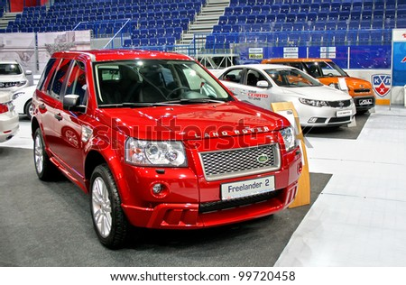 "UFA, RUSSIA - JUNE 10: English motor car Land Rover Freelander on display at the annual Motor show ""Autosalon"" on June 10, 2009 in Ufa, Bashkortostan, Russia."