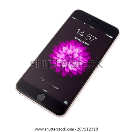UFA, RUSSIA - JUNE 21, 2015: New iPhone 6 Plus is a smartphone developed by Apple Inc. Apple releases the new iPhone 6 Plus - stock photo
