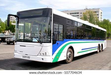 UFA, RUSSIA - MAY 25: City bus NEFAZ 52998 (VDL Transit) exhibited at the annual Motor show Autosalon on May 25, 2009 in Ufa, Bashkortostan, Russia. - stock photo