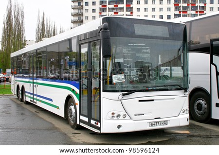 "UFA, RUSSIA - MAY 11: City bus NEFAZ 52998 (VDL Transit) exhibited at the annual Motor show ""Autosalon"" on May 11, 2011 in Ufa, Bashkortostan, Russia. - stock photo"