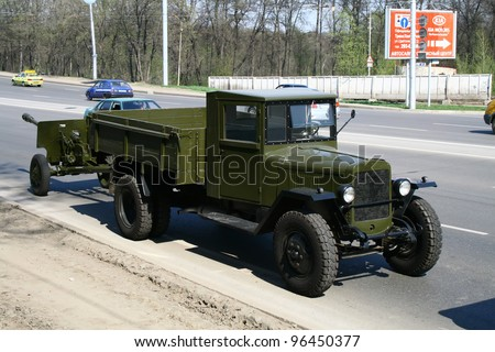 UFA, RUSSIA - MAY 4: Soviet army truck UralZiS-5V takes part at the dress rehearsal of Victory Parade on May 4, 2010 in Ufa, Russia.