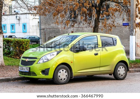 UFA, RUSSIA - OCTOBER 20, 2011: Motor car Chevrolet Spark in the city street. - stock photo