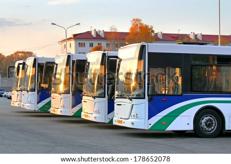UFA, RUSSIA - OCTOBER 8, 2008: New VDL NEFAZ 52997 city buses of the Bashavtotrans bus company at the bus station. - stock photo