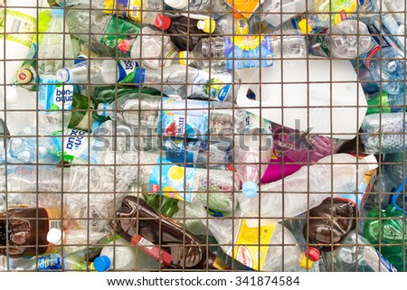 UFA - RUSSIA 16TH NOVEMBER 2015 - Plastic bottles and containers are collected at a PET recycling point for reuse allowing residents to help the environment in Ufa, Russia  - stock photo
