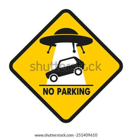 UFO abducts improperly parked car - stock photo