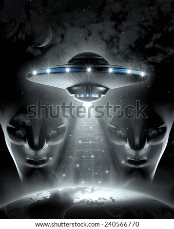 UFO and alien in dark night  - stock photo