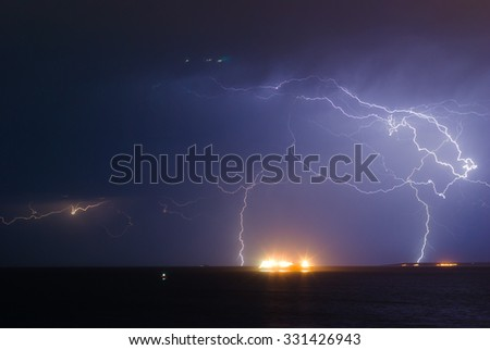 UFO and powerful storm on the sea. Cyprus