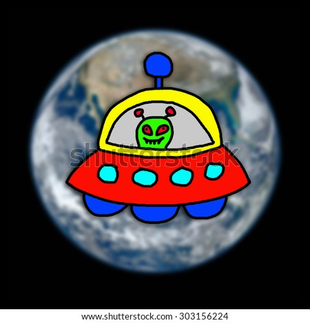 UFO  cartoon draw by child  on earth background , , Element of this image furnished by NASA - stock photo