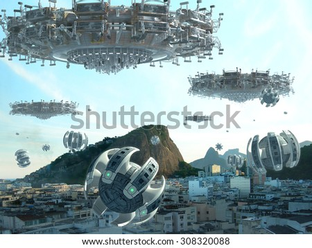 UFO fleet and drones, above buildings in Rio de Janeiro, Brazil, for futuristic, fantasy, interstellar travel or war-game backgrounds - stock photo