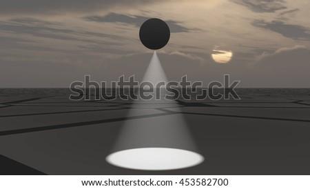 UFO flying and scanning deserted land, 3D illustration background - stock photo