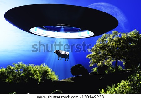Ufo Flying on Earth at Night over Field - stock photo