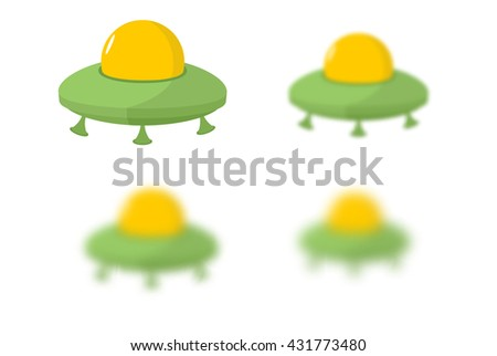 UFO. Flying saucer. UFO kit with different th blur Space transport Aliens - stock photo