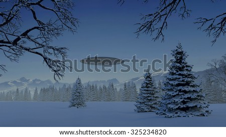 UFO in the mountains above the snow-covered forest - stock photo