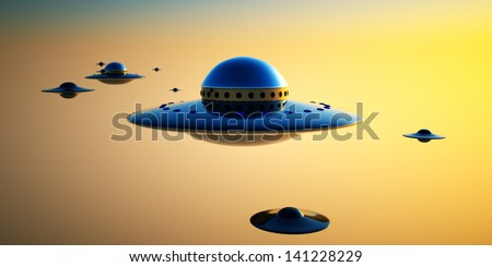 UFO Invasion - a group of UFOs gather over an evening sky ready for an invasion of Earth.