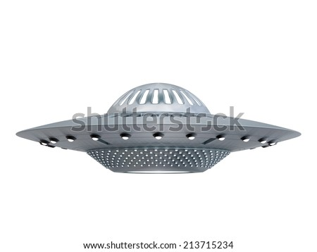 Ufo isolated on white background. Alien spaceship flying saucer - stock photo