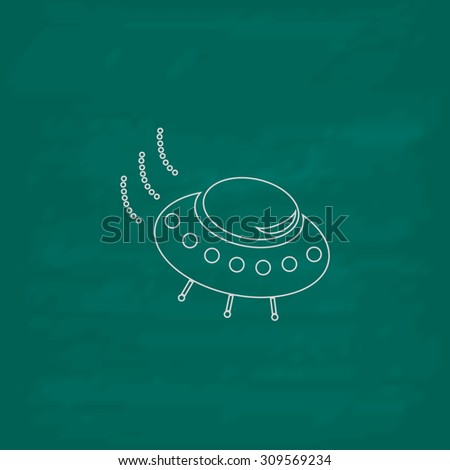 UFO. Outline icon. Imitation draw with white chalk on green chalkboard. Flat Pictogram and School board background. Illustration symbol - stock photo