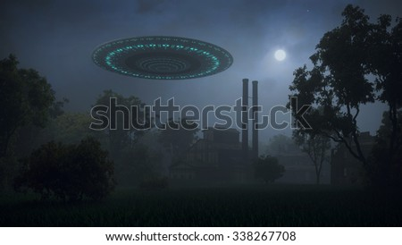 UFO over an old abandoned factory - stock photo