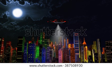 UFO over Modern Vivid Color City at Night 3D Illustration