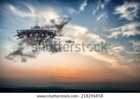 ufo spaceship flying in the sky - stock photo