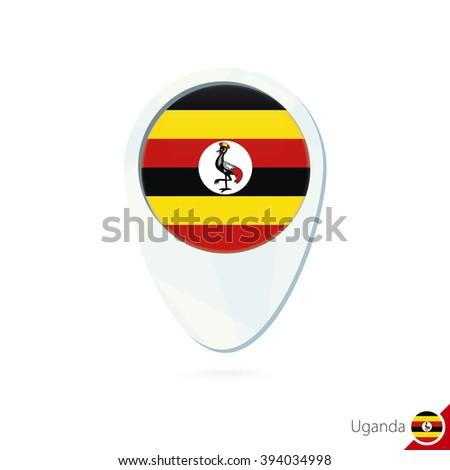 Uganda flag location map pin icon on white background. Raster copy. - stock photo