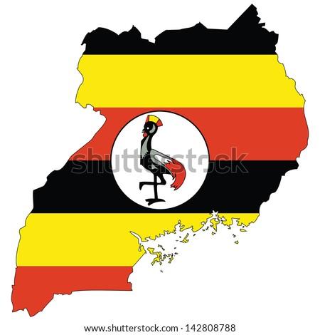 Uganda map with the flag inside.  - stock photo