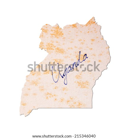Uganda - Old paper with handwriting, blue ink - stock photo