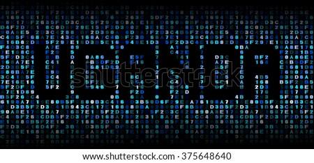Uganda text on hex code illustration - stock photo